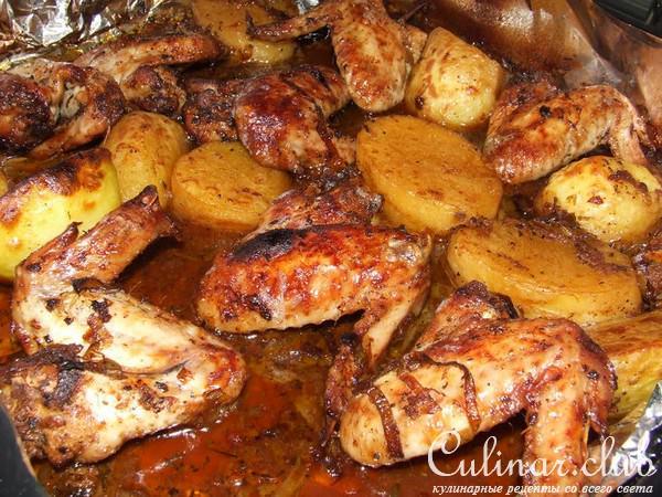 Крылья с картошкой в духовке рецепт 166