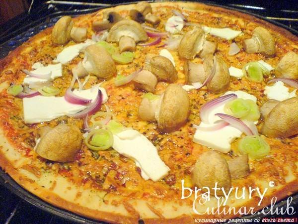 Пицца вегетарианская с грибами рецепт
