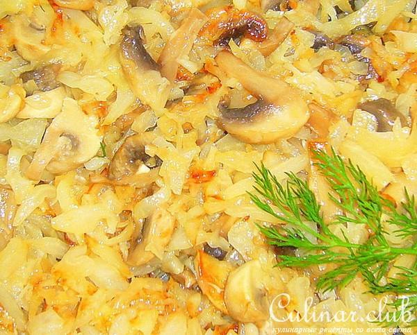 Капуста с грибами и яйцом рецепт