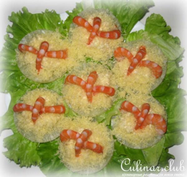Рецепт ананас с креветками и сыром