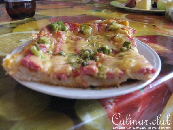 Пицца на тонком тесте кефир