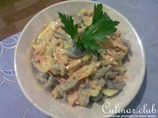 Салат из куриных пупков с фото