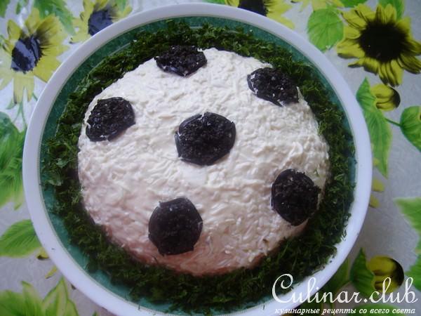 салат в виде футбольного мяча рецепт с фото