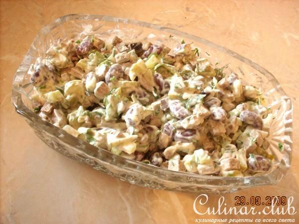 Салат из говяжьей печени с фасолью рецепт с очень вкусный