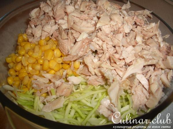 Салаты из белокочанной капусты с куриным филе