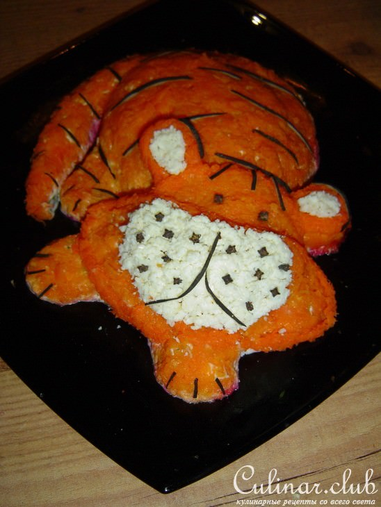 новогодний салат тигренок фото