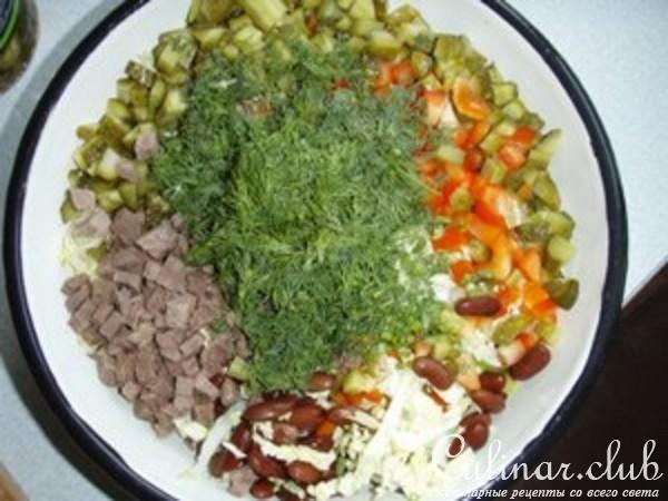 Салат из говядины с фасолью рецепты с фото