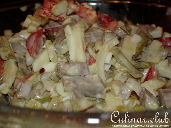 Рецепт салата с мясом и яблоком с фото