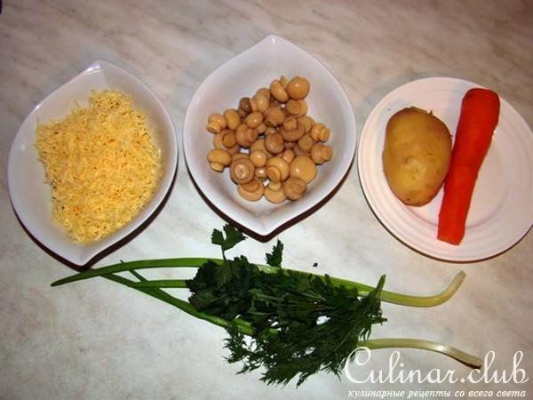 Салат грибная поляна с сыром рецепт с фото
