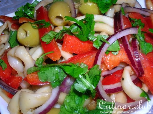 Салат из кальмаров и болгарского перца рецепт с