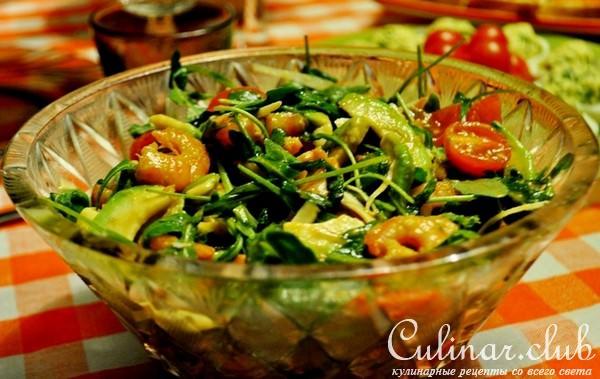 Салат с креветками рукколой и авокадо рецепт с пошагово