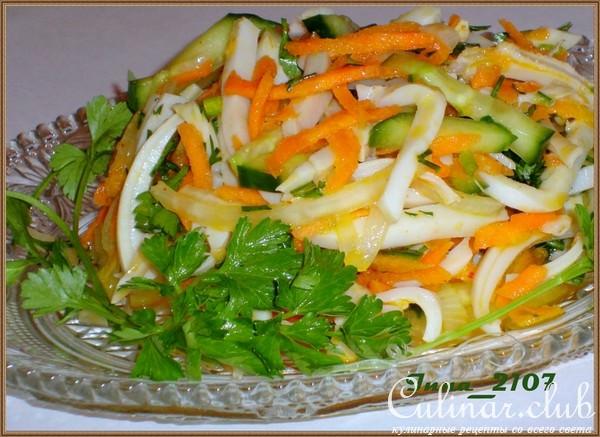 Салат с кальмарами и корейской морковью рецепт