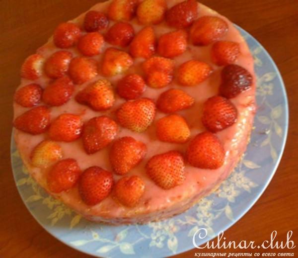 Йогуртовый клубничный торт рецепт с пошаговым