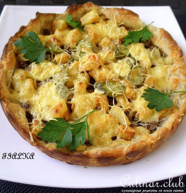 Пирог с картошкой и фаршем и сыром в духовке рецепт с